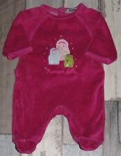 c9fe22775995f Pyjama velours rose brodé TAPE A L OEIL fille 0 mois naissance 50cm ~