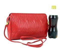 Auth FENDI Red Leather Crossbody Shoulder Bag Hand Bag Purse Italy Vintage Good