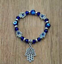 Pulsera mal de ojo mano de fatima plateada y azul nueva amuleto hamsa nazar