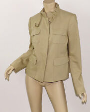 ANN TAYLOR Sand Beige Stretch Cotton Buckle Stand Collar Utility Jacket M 10