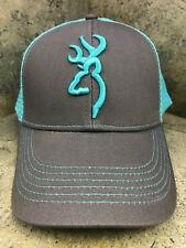 Browning Flashback Baseball Cap 308177551 Snap Back Closure Charcoal/Neon Blue