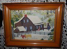 Vintage 1950's Grandma Moses Bark Cloth OLD FARM HOUSE Americana Winter Picture
