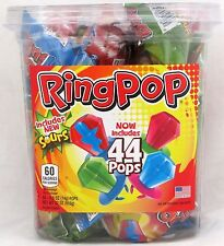 Ring Pops 44 Count Tub Hard Candy Suckers Pop Lollipops Bulk Topps Candies