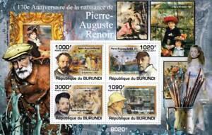 Pierre-Auguste RENOIR Artist & Painter / Art Stamp Sheet #1 of 5 (2011 Burundi)