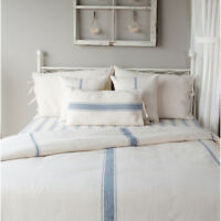 GRAIN SACK Colonial Blue Stripe Duvet Cover Collection-Farmhouse Bedding Raghu