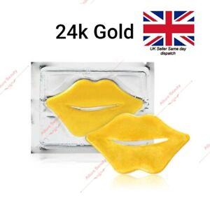 24K GOLD Collagen Lip Mask Anti- Age Moisturising Beauty Treatment Fuller Lips