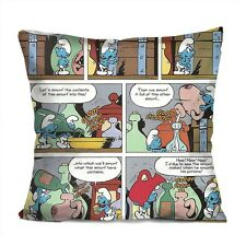"THE SMURFS COMIC Decorative Throw Pillow Case Cushion 18"" Zippered Cover"