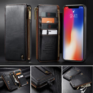Genuine CaseMe Leather Wallet Zipper Flip Cover Card Case For iPhone 11 Pro Max