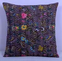 Indien Coussin Housse Floral Art Coton Brodé Kantha Bohème