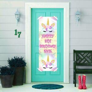 2 Personalised Birthday Banners Unicorn Head Party Celebration Decor Door Poster