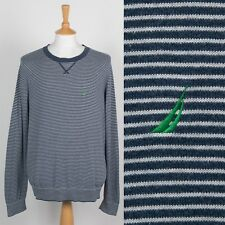 MENS NAUTICA SOFT KNIT JUMPER STRIPED CREW NECK BLUE WHITE PREPPY SAILING XL