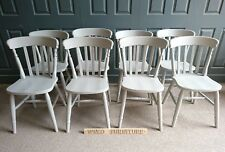 Painted Solid Wood Farmhouse Slat Back Kitchen Dining Chairs in Paris grey