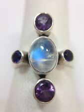 Nicky Butler Moonstone Amethyst Cabochon Ring Sterling Silver Size 7 FMGE 925