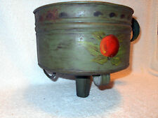 "Large 9"" Antique Footed Tin Funnel Green Tole Painted Fruit Decoration Handled"