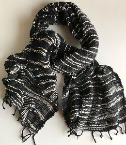Thai Organic Cotton Scarf - Black,White and Grey