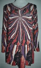 MONA Tolle Damen  Bluse Tunika Oberteil Shirt mehrfarbig Langarm 42