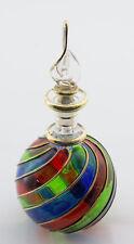 Flacon fiole a parfum huile verre soufflé d' Egypte 13.5cm  sphere CA10 1425