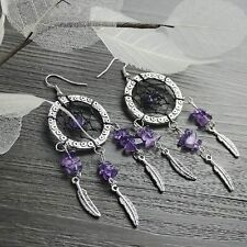 Handmade Fashion Crystal DIY Beads Silver Earrings Dreamcatcher Tassel