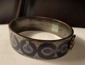 Designer COACH Blue Silver Enamel Metal Bangle Bracelet - retail $138.00