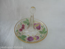 Antique Vide Poche Intaglio Glass With Gold And Hand Enameled Fruit