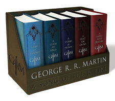 Game of Thrones Books 1-5 LEATHER-CLOTH BOUND BOXED Set George R. R. Martin NEW
