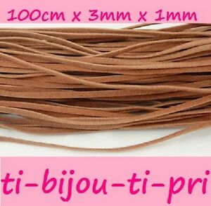 Lot Of 16 5/12ft (16 5/12x3 3/12ft) Laces Flat Faux Suede 0 1/8in Camel Beads