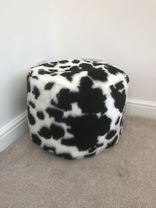 Black & White Cow Faux Fur Pouffee / Footstool Made in the UK