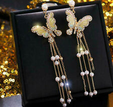 BJ New Fashion Gold Alloy rhinestone Enamel butterfly tassel drop earring Jewel