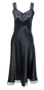Black 100% Silk Slip Dress 1940s Vintage Heavenly Silks by Fischer Full Slip