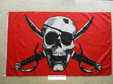3'X 5' CRIMSON PIRATE ( RED ) JOLLY ROGER PIRATE FLAG (new design)