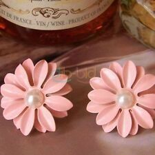 Lovely Cute Pink Daisy Flower with Pearl Stud Earrings DQCA