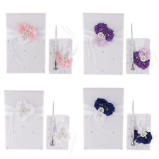 Satin Flower Wedding Guest Book Pen Set with Pearls Crystal Party Supplies
