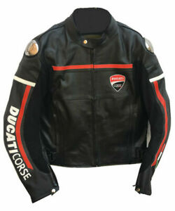 New Handmade Men's DUCATI CORSE Biker Genuine Leather Jacket