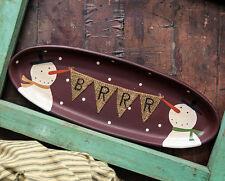 Primitive Wood Plate-Brrrrr Burlap Snowman Tray #32653
