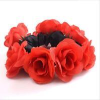 Women Girl Rose Flower Hair Band Rope Elastic Ponytail Holder Scrunchie