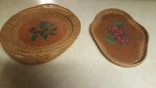 Two Vintage Woven Raffia Hanging Trays