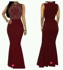 Burgundy Red Rhinestone Mermaid cocktail/prom  Maxi Dress Gown  Size L UK 12-14