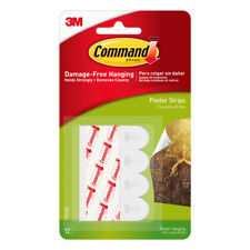 3M COMMAND POSTER STRIPS Pack of 12  Damage Free Poster Picture Hanging Strips