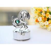 "Chrome Plated Dog Music Box Figurine plays ""Love Story"""