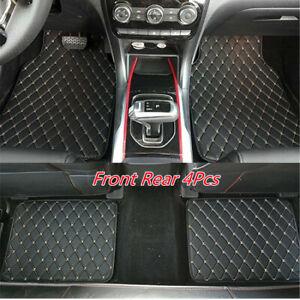 PU Leather Car Front Rear Floor Foot Mats Waterproof Dustproof Universal 4Pcs