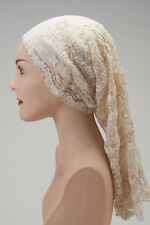 Lovely CHEMO Tube SCARF Antique Ivory LACE Cancer Hat Cap Turban FREE SHIPPING!