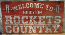 """HOUSTON ROCKETS WELCOME TO ROCKETS COUNTRY WOOD SIGN 13""""X24'' WINCRAFT"""