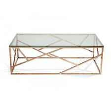 Modern Coffee Glass Cage Table - Rose Gold