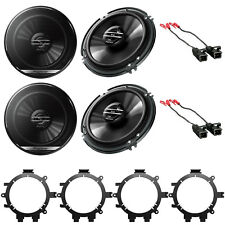 """Pioneer 6.5"""" Car Audio Stereo Front & Rear Speakers W/Mounting Bracket & Harness"""