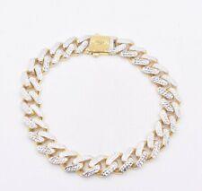 Link 11mm Cubano de Miami corte de diamante Pulseira Reversível Real 10K Amarelo Ouro Branco