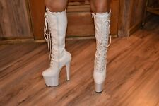 Taboo 2021 by Pleaser White Patent Platform Stiletto Boot Size 6 FREE SHIP