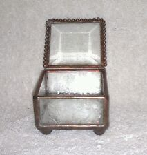 Vintage Beveled Glass and Brass Mirrored Display Box, Excellent Condition!