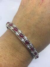 Vintage Handmade Genuine Red Ruby 925 Sterling Silver Bangle Bracelet