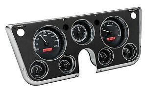 67-72 Chevy C10 Dakota Digital Black Alloy / Red VHX Analog Clock Gauge Kit