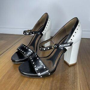 MARNI Woman's  Designer Monochrome Leather Open Toe Sandals Heels Shoes Size  38